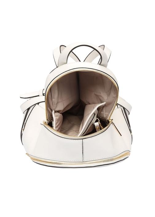 Rhea Beyaz Gold Logolu Kadın Deri Sırt Çantası