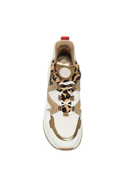 Olympia Beyaz Leopar Desenli Kadın DeriSneaker