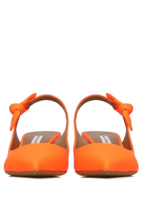Rise Neon Turuncu Fiyonklu Deri sandalet