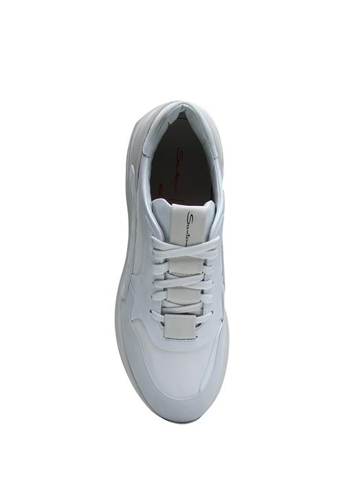Beyaz Garni Detaylı Erkek Deri Sneaker