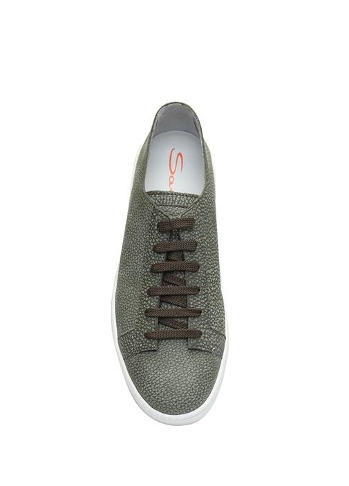 Haki Dokulu Erkek Deri Sneaker
