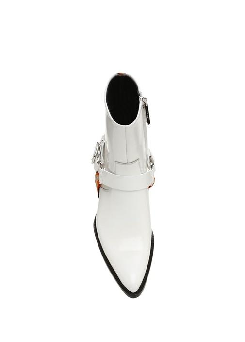Beyaz Bant Detaylı Kadın Deri Bot