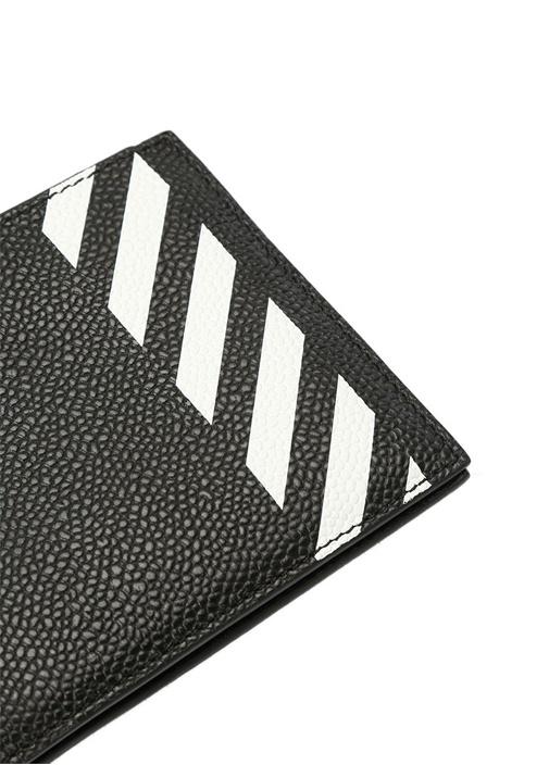 Siyah Diyagonal Baskılı Kadın Deri Cüzdan