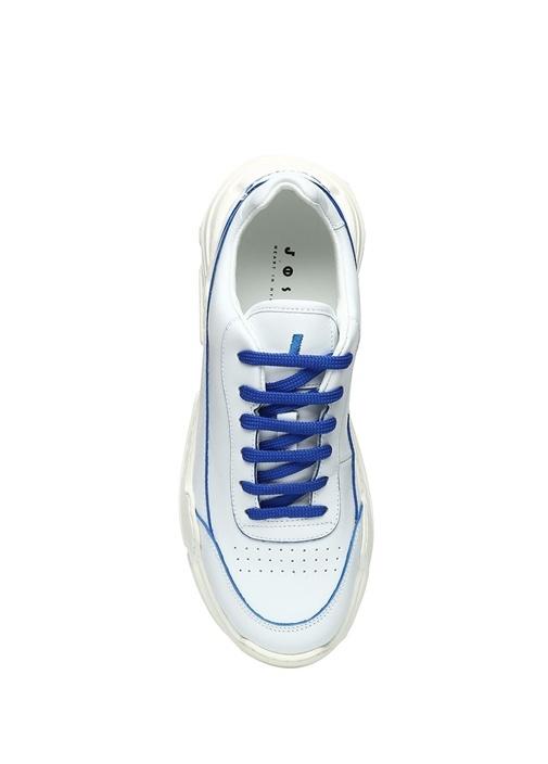 Beyaz Mavi Renk Detaylı Kadın Deri Sneaker