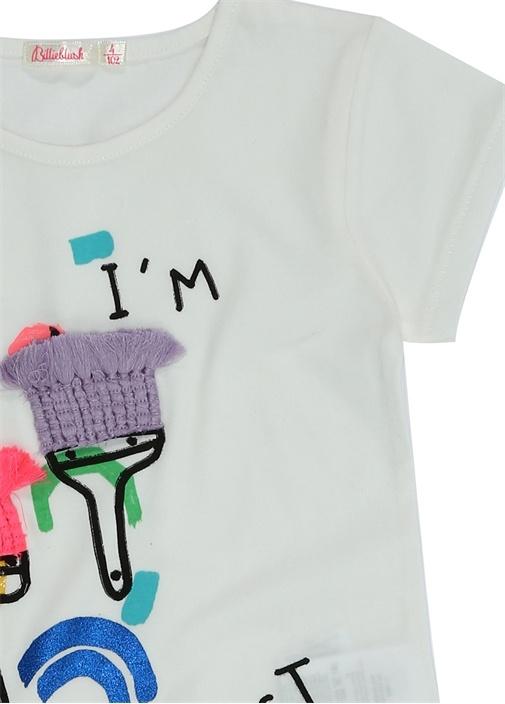 Beyaz Baskılı Nakış Detaylı Kız Çocuk T-shirt
