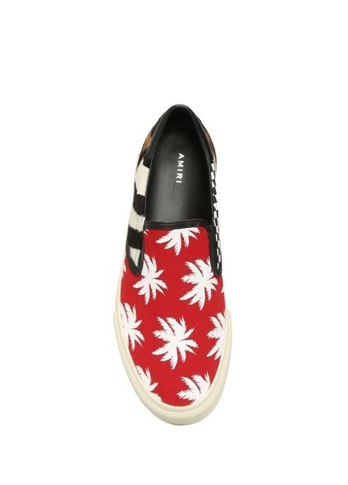 Kırmızı Beyaz Palmiye Baskılı Erkek Sneaker