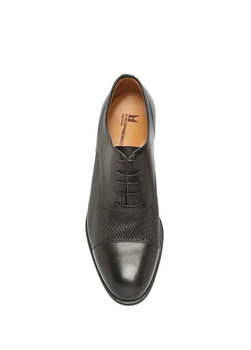 Siyah Zikzak Dokulu Erkek Deri Ayakkabı