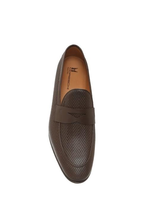 Chevron Kahverengi Dokulu Erkek Deri Loafer
