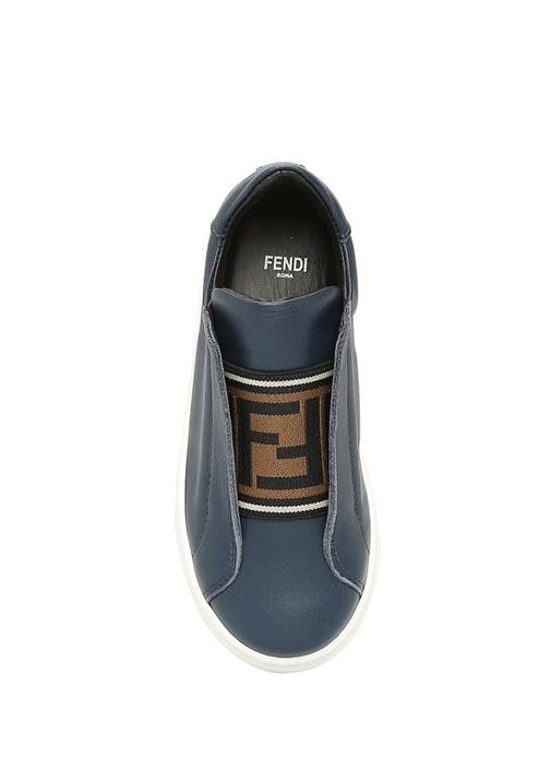 Lacivert Logo Lastikli Unisex Çocuk Deri Sneaker