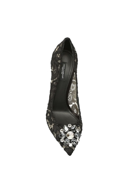 Taormina Siyah Dantelli Topuklu Ayakkabı