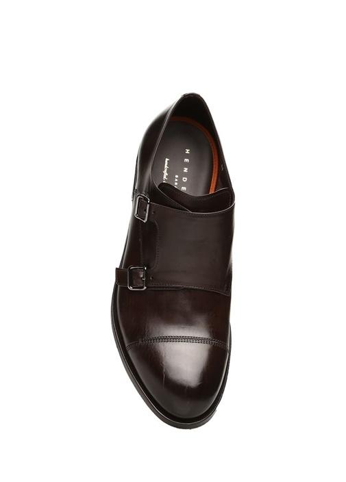 Kahverengi Çift Tokalı Erkek Deri Ayakkabı