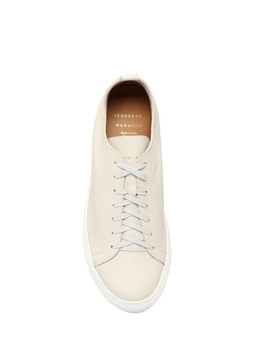 Bryan Beyaz Logolu Erkek Deri Sneaker