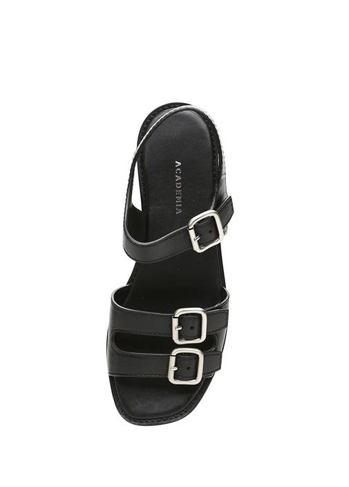 Siyah Kemer Detaylı Kadın Deri Sandalet