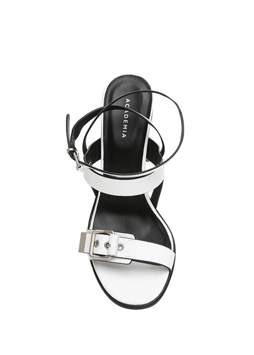 Beyaz Kemer Detaylı Kadın Deri Sandalet