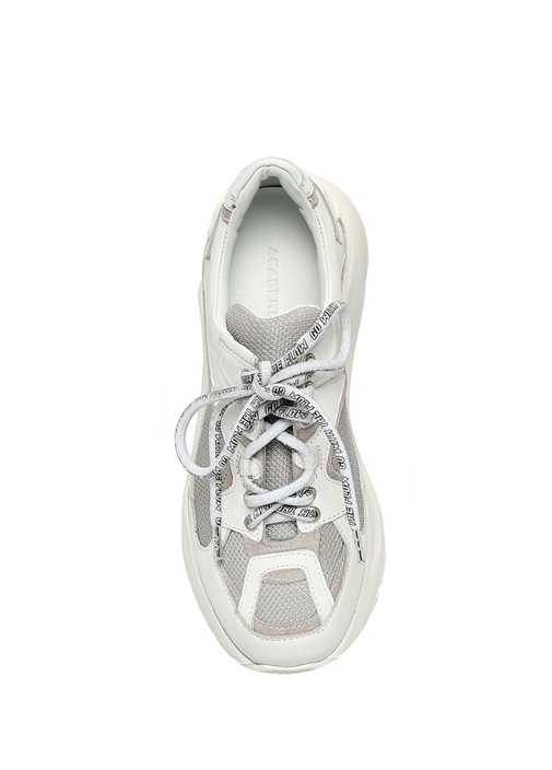Beyaz Gri File Dokulu Kadın Deri Sneaker