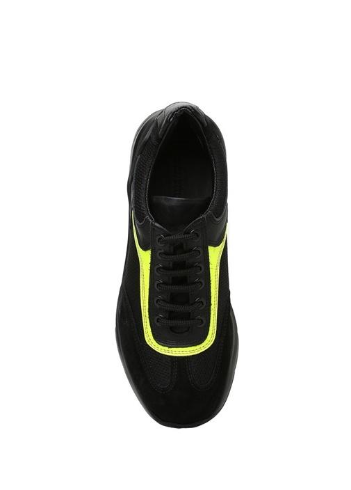 Siyah Neon Sarı Renk Detaylı Kadın DeriSneaker