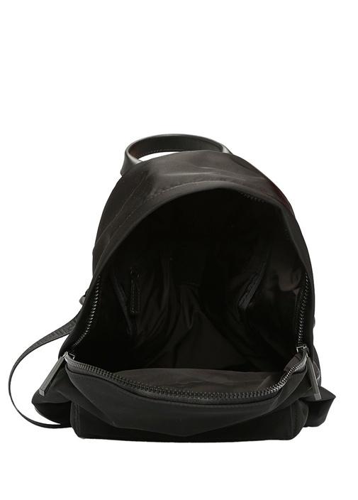 Siyah Logo Baskılı Kadın Sırt Çantası