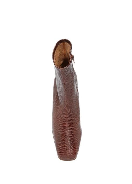 Este Kahverengi Yılan Desenli Kadın Deri Bot