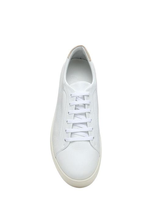 Beyaz Dokulu Kadın Deri Sneaker