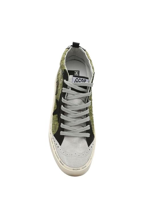 Hi Mid Star Gri Yeşil Kadın Deri Sneaker