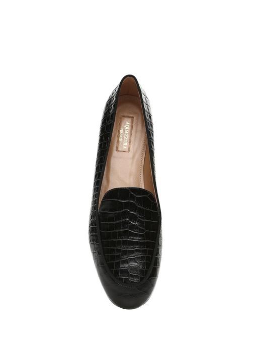 Purist Siyah Krokodil Desenli Kadın Deri Loafer