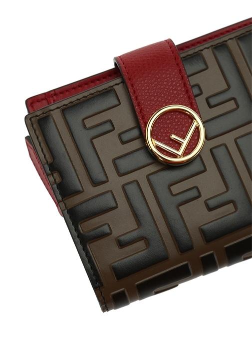 Small Kahverengi Kırmızı Logolu Kadın Deri Cüzdan