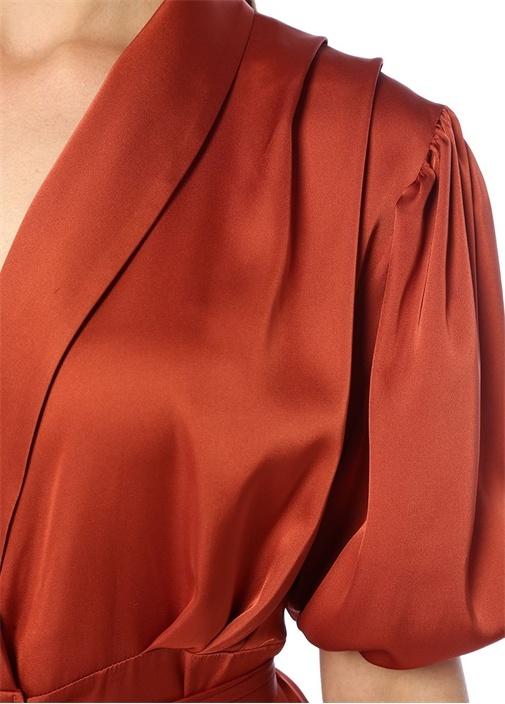 Kiremit Şal Yaka Mini Saten Anvelop Elbise