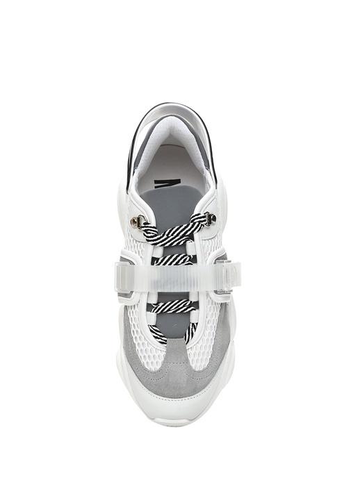 Teddy Beyaz Garnili Logo Tabanlı Kadın Sneaker