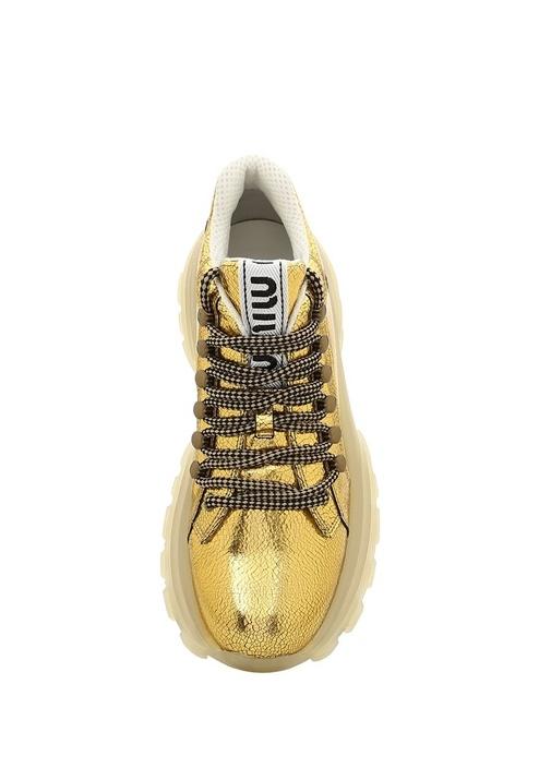 Gold Dokulu Kadın Deri Sneaker