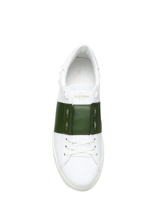 Open Beyaz Yeşil Şerit Detaylı Erkek Deri Sneaker