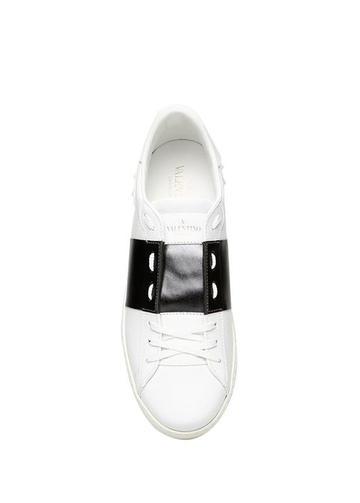 Rockstud Beyaz Şerit Detaylı Erkek DeriSneaker