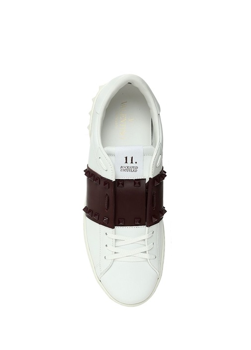 Rockstud Beyaz Bordo Erkek Deri Sneaker