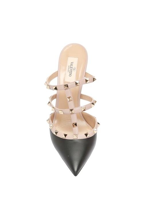 Rockstud Siyah Pudra Deri Topuklu Ayakkabı