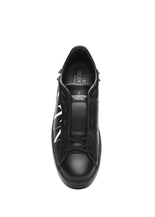 VLTN Siyah Kontrast Logolu Kadın Deri Sneaker