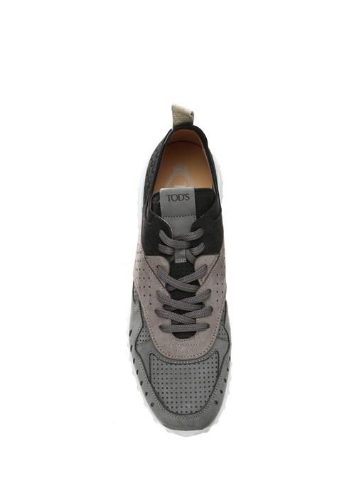 Gri Garnili Kadın Deri Sneaker