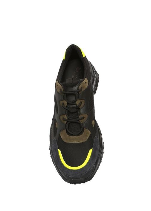 Siyah Lacivert File Dokulu Erkek Deri Sneaker