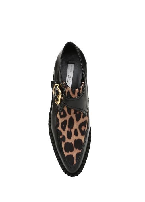 Siyah Leopar Desenli Kadın Loafer