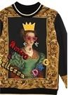 Siyah Patch Detaylı İşlemeli Kız Çocuk Sweatshirt