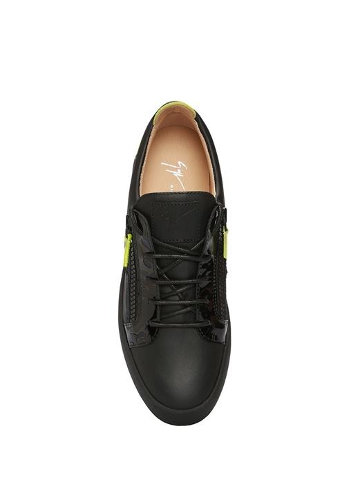 Frankie Siyah Neon Renk Detaylı Kadın Deri Sneaker