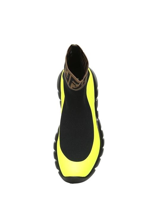 Siyah Neon Sarı Logolu Çorap Formlu Erkek Sneaker