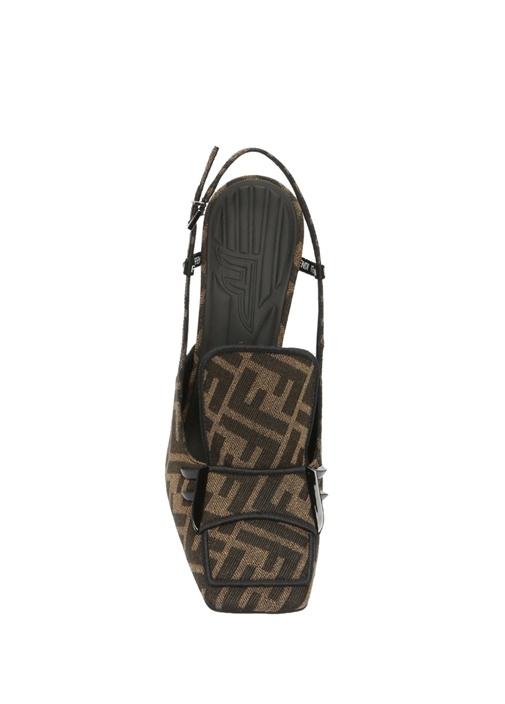 Kahverengi Logo Jakarlı Topuklu Kanvas Sandalet