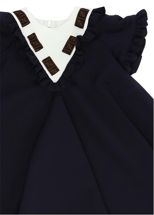 Lacivert Logo Şeritli Fırfırlı Kız Bebek Elbise