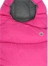 Pembe Kapüşonlu Logolu Bebek Puff Uyku Tulumu