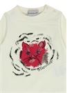 Beyaz Kedi Baskılı Kız Bebek T-shirt