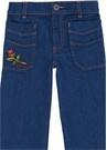 Mavi Çiçek Nakışlı Kız Çocuk Jean Pantolon
