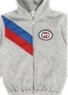 Gri Kapüşonlu Logolu Erkek Bebek Sweatshirt