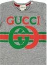 Gri Logo Baskılı Erkek Bebek T-shirt