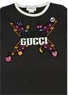 Siyah Logolu Şimşek Baskılı Kız Çocuk T-shirt