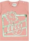 Pembe Yeşil Logo Baskılı Kız Bebek T-shirt