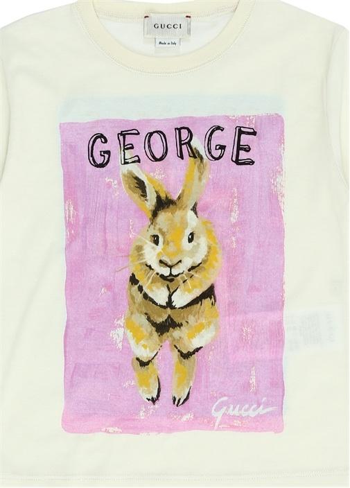 Beyaz Pembe Hayvan Baskılı Kız Çocuk T-shirt